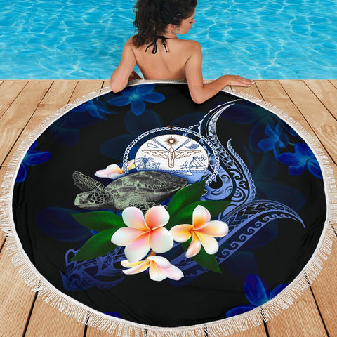 Image of Marshall Islands Polynesian Beach Blanket - Turtle With Plumeria Flowers - BN12