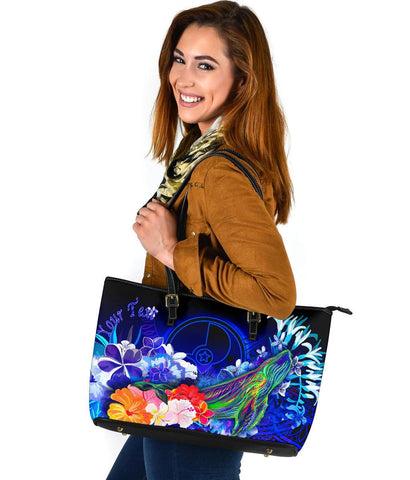 [Custom] Yap Large Leather Tote Bag - Humpback Whale with Tropical Flowers (Blue)