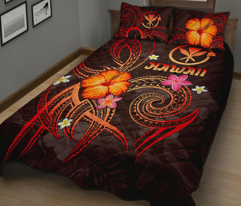 Image of Polynesian Hawaii Quilt Bed Set - Legend of Kanaka Maoli (Red)