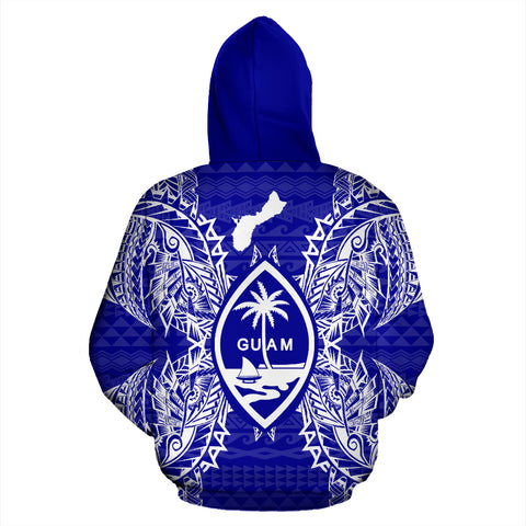 Guam Polynesian All Over Zip Up Hoodie Map Blue - BN39