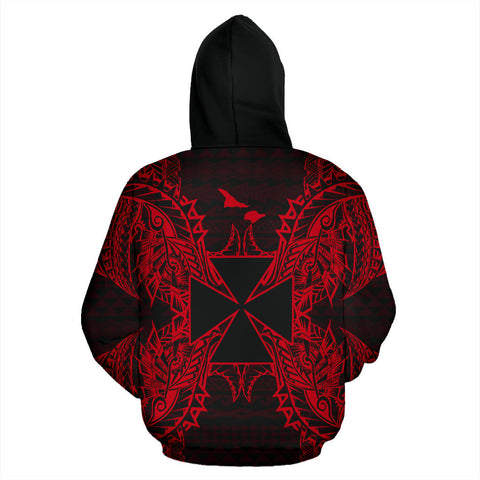 Wallis And Futuna Polynesian All Over Zip Up Hoodie Map Red - BN39
