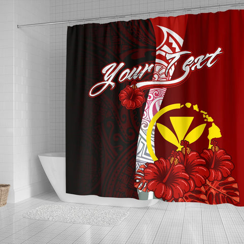Hawaii Polynesian Custom Personalised Shower Curtain - Coat Of Arm With Hibiscus - BN12