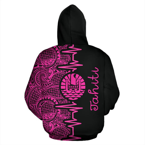 Image of Tahiti Heartbeat Hoodie - Polynesian Pattern Pink Zip-up Version TH0 1ST