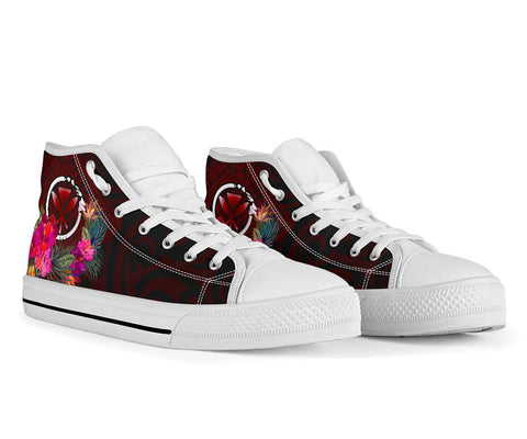 Hawaii High Top Shoe - Kanaka Maoli With Hibiscus On Polynesian Patterns (RED)