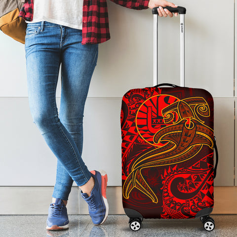 Image of Tahiti Luggage Covers - Red Shark Polynesian Tattoo