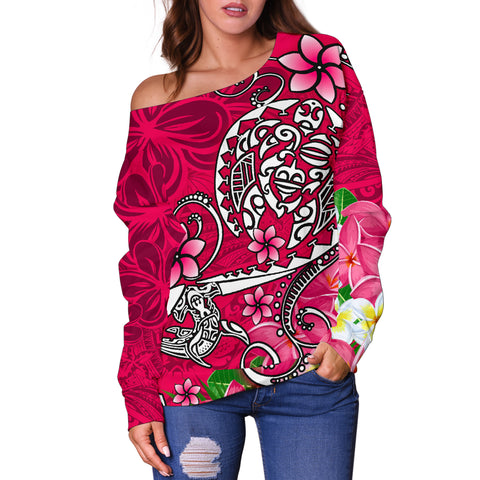 Polynesian Women's Off Shoulder Sweater - Turtle Plumeria Pink Color - BN18