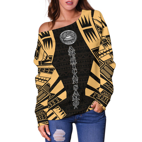 American Samoa Women's Off Shoulder Sweater - Polynesian Tattoo Gold - BN0110