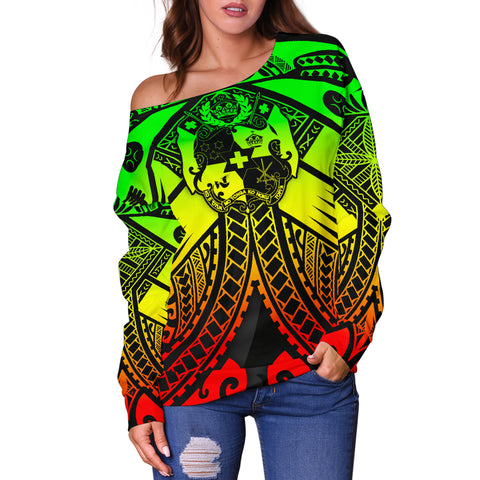 Image of Tonga Polynesian Women's Off Shoulder Sweater - Tonga Reggae Seal with Polynesian tattoo - BN18