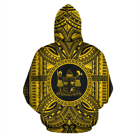 Fiji All Over Hoodie - Fiji Coat Of Arms Polynesian Gold Black Bn10