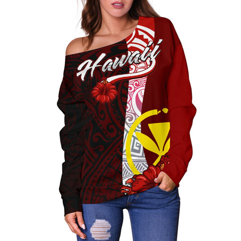Hawaii Polynesian Women's Off Shoulder Sweater - Coat Of Arm With Hibiscus - BN12