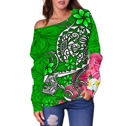 Polynesian Women's Off Shoulder Sweater - Turtle Plumeria Green Color - BN18