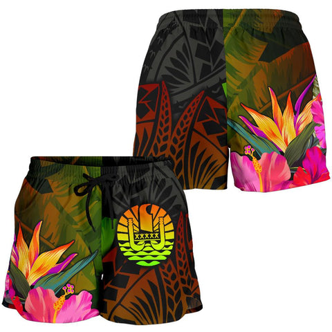 Image of Tahiti Polynesian Women's Shorts -  Hibiscus and Banana Leaves