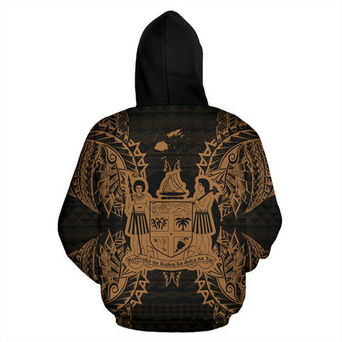 Fiji Polynesian All Over Zip Up Hoodie Map Gold - BN39