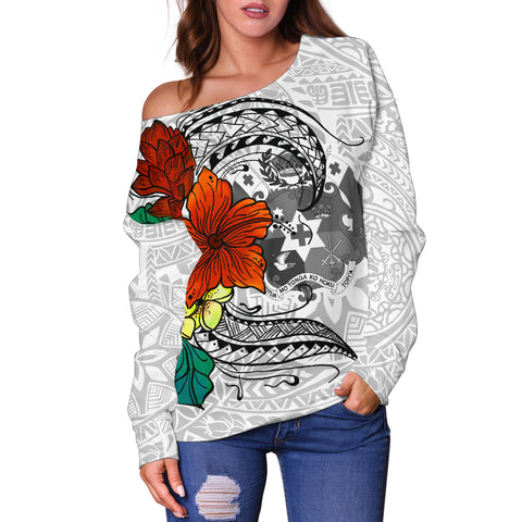 Tonga Women's Off Shoulder Sweater - Tropical Flowers White Patterns Style