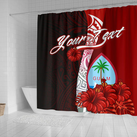 Guam Polynesian Custom Personalised Shower Curtain - Coat Of Arm With Hibiscus - BN12