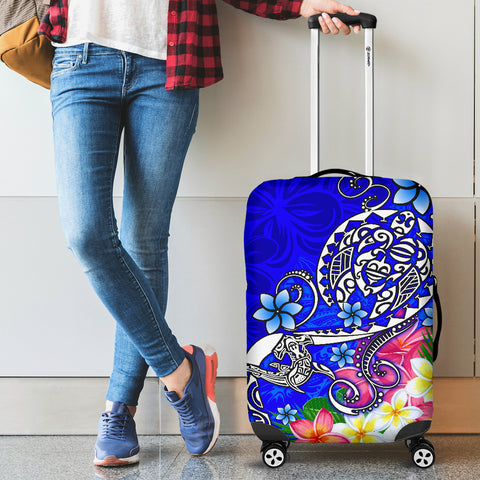 Polynesian Luggage Covers - Turtle Plumeria Blue Color