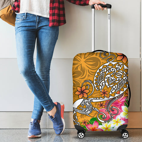 Image of Polynesian Luggage Covers - Turtle Plumeria Gold Color