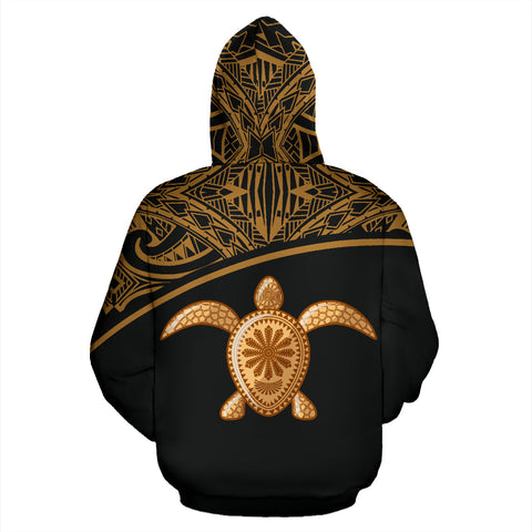 Turtle All Over Custom Personalised Hoodie - Polynesian Gold Curve Style - BN09