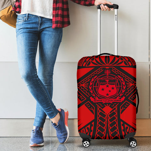 Image of Samoa Polynesian Luggage Covers - Samoa Red Seal with Polynesian Tattoo