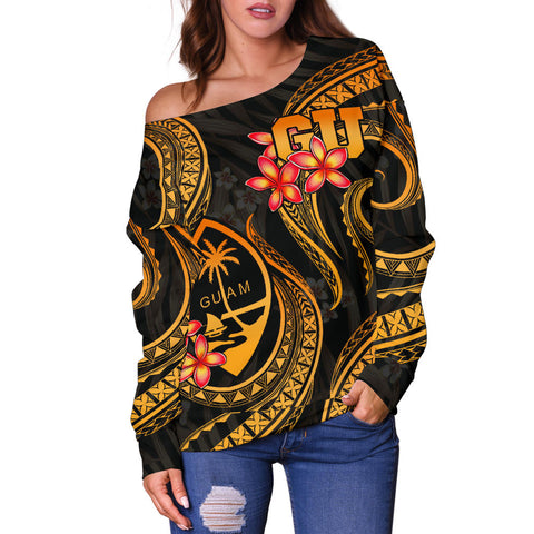 Image of Guam Polynesian Women Off Shoulder Sweater - Gold Plumeria