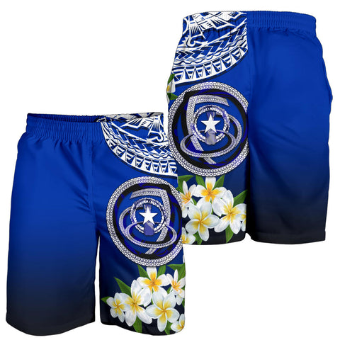Northern Mariana Islands All Over Print Men's Shorts - Polynesian Plumeria Pattern - BN39