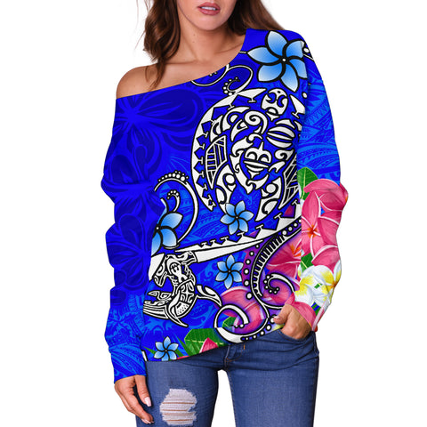Polynesian Women's Off Shoulder Sweater - Turtle Plumeria Blue Color - BN18