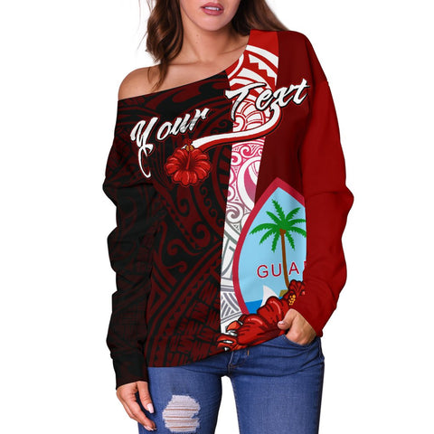 Image of Guam Polynesian Custom Personalised Women's Off Shoulder Sweater - Coat Of Arm With Hibiscus - BN12