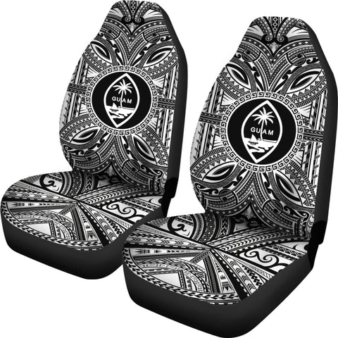 Guam Car Seat Cover - Guam Coat Of Arms Polynesian White Black Bn10