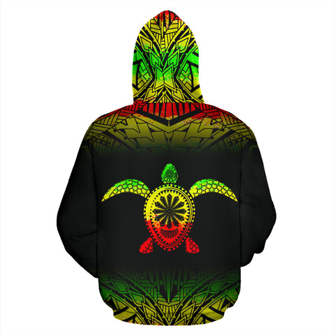 Turtle All Over Custom Personalised Hoodie - Polynesian Reggae Fog Style - BN09