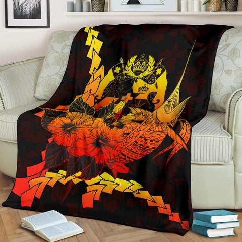 Image of Tonga Polynesian Premium Blanket - Swordfish With Hibiscus - BN12