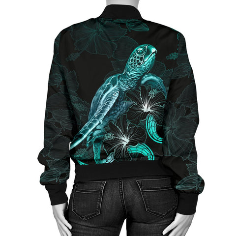 Hawaii Polynesian Women's Bomber Jacket - Turtle With Blooming Hibiscus Turquoise