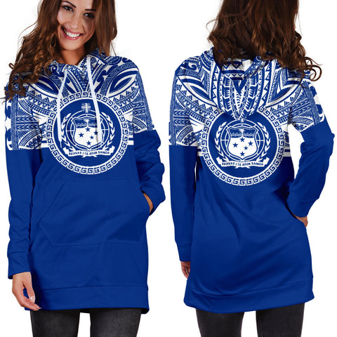 Samoa Women Hoodie Dress - Samoa Coat Of Arms Polynesian Flag Color Bn10