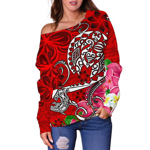 Polynesian Women's Off Shoulder Sweater - Turtle Plumeria Red Color - BN18