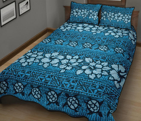Image of Fiji Polynesian Quilt Bed Set Tapa Hibiscus Blue A7