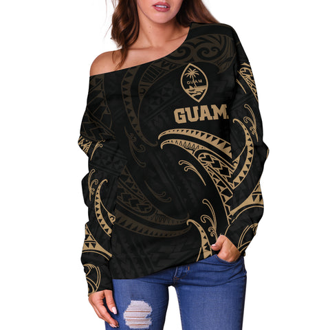 Guam Polynesian Women's Off Shoulder Sweater - Gold Tribal Wave - BN12