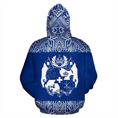 Tonga All Over Hoodie - Polynesian Blue And White - BN09