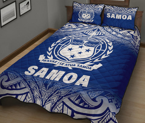 Samoa Quilt Bed Set - Fog Blue Version -  BN12