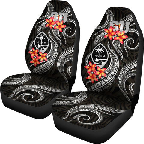 Image of Guam Polynesian Car Seat Covers - Black Plumeria