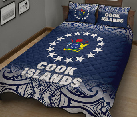 Cook Islands Polynesian Quilt Bed Set - Fog Blue Style - BN12