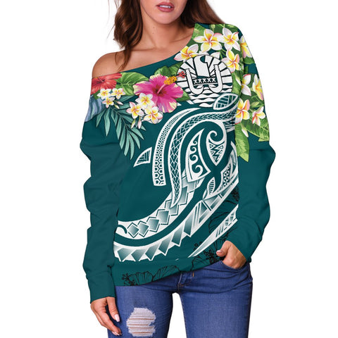 Tahiti Polynesian Women's Off Shoulder Sweater - Summer Plumeria (Turquoise) - BN15