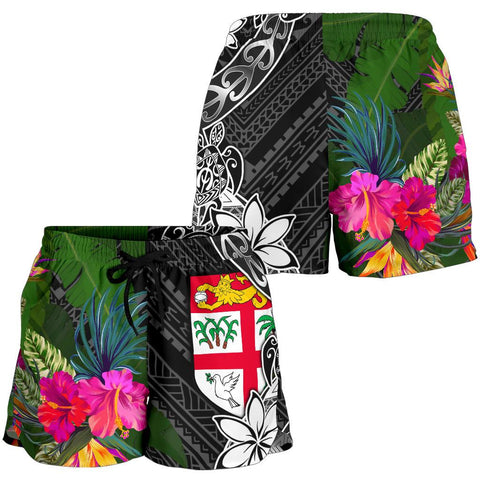Fiji Women Shorts - Turtle Plumeria Banana Leaf - BN11