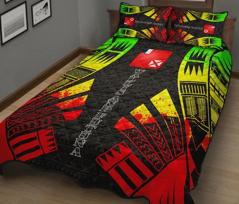 Wallis and Futuna Quilt Bed Set - Reggae Tattoo Style - BN0112