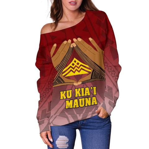 Image of Hawaii Mauna Kea Custom Personalised Women's Off Shoulder Sweater - Hand Sign Symbol - BN12
