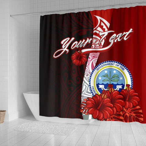 Fiji Polynesian Custom Personalised Shower Curtain - Coat Of Arm With Hibiscus - BN12