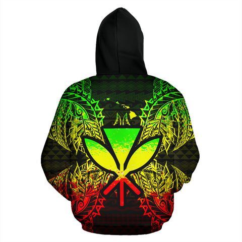 Polynesian Hawaii All Over Zip-Up Hoodie - Map Turtle Reggae - BN39