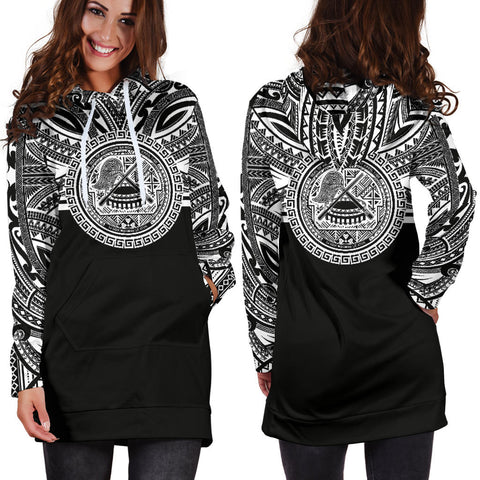 American Samoa Women Hoodie Dress - American Samoa Coat Of Arms Polynesian Black Color Bn10