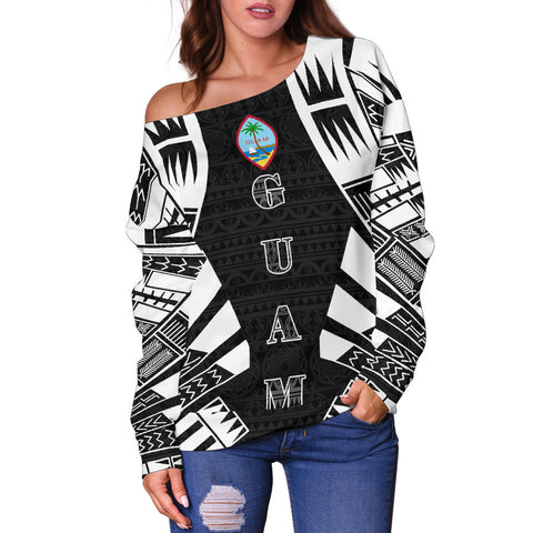 Image of Guam Women's Off Shoulder Sweater - Polynesian Tattoo Black - BN0110