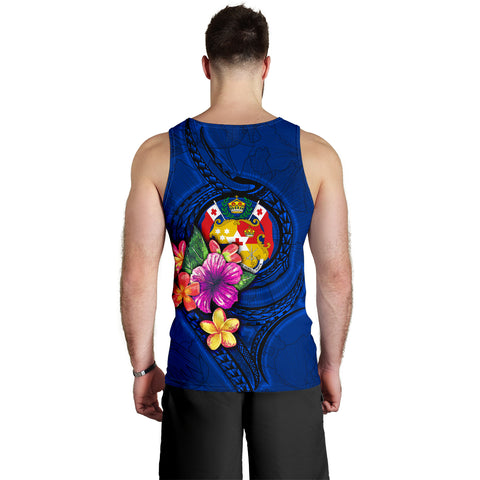 Tonga Polynesian Men's Tank Top - Floral With Seal Blue - BN12