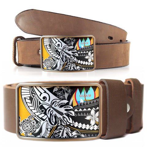 Image of Guam Belt Buckle - Tribal Jungle Pattern - BN20