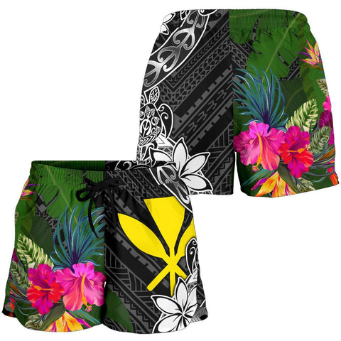 Hawaii Women Shorts - Turtle Plumeria Banana Leaf - BN11